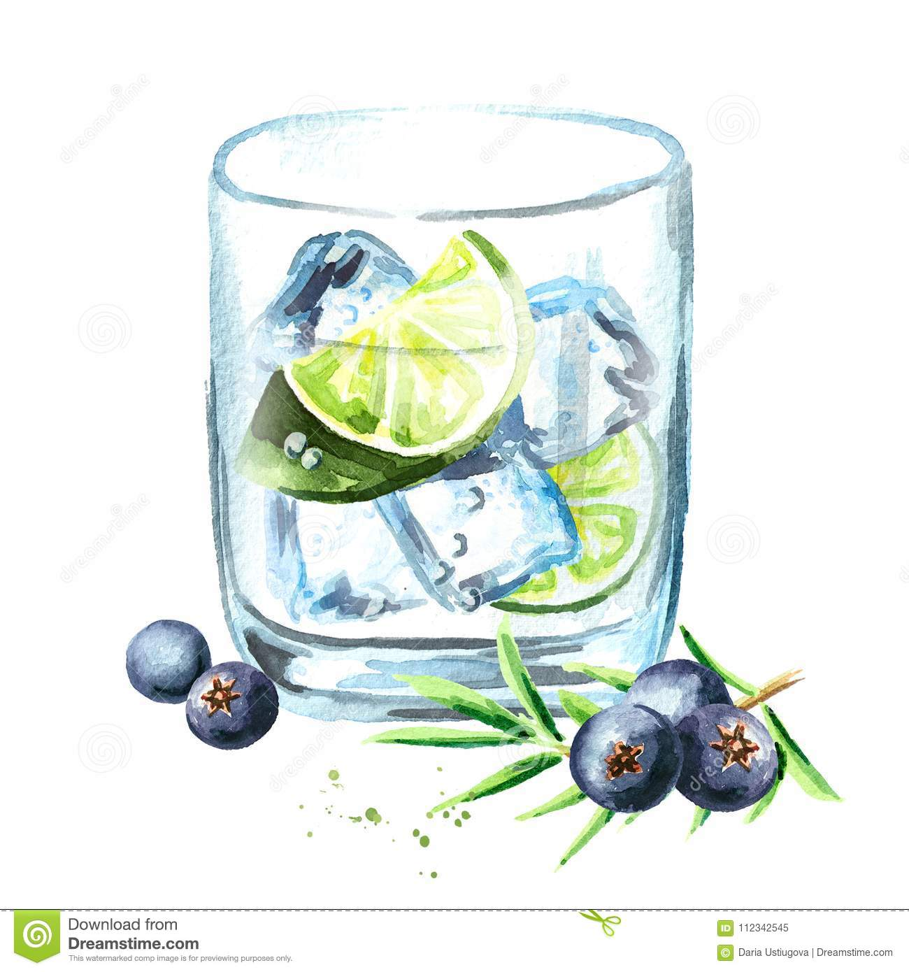 Gin tonik with ice cubes, lime slice and juniper berries. Watercolor hand drawn illustration, isolated on white background.