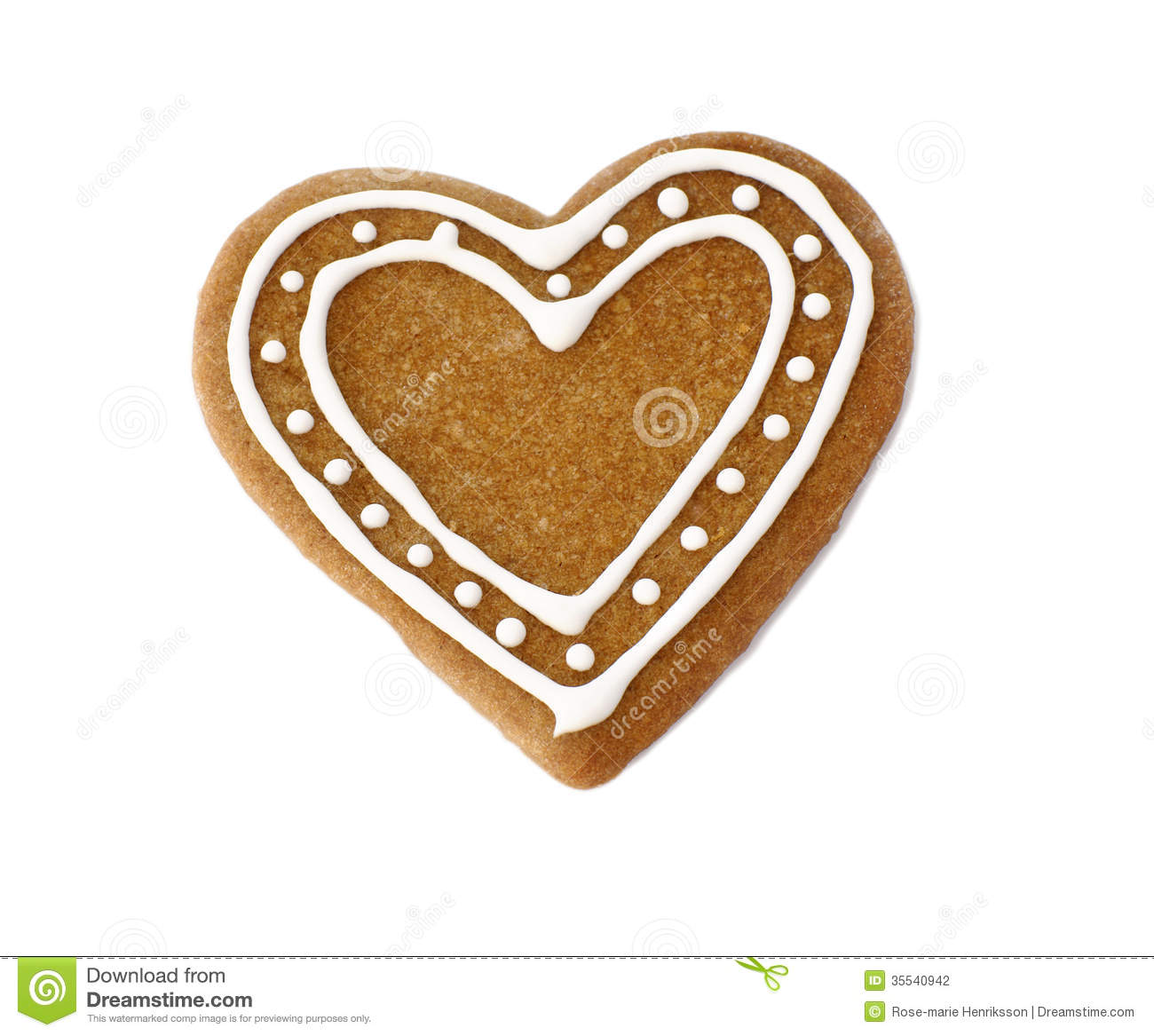 Gingerbread Heart Cookie Decorated For Christmas