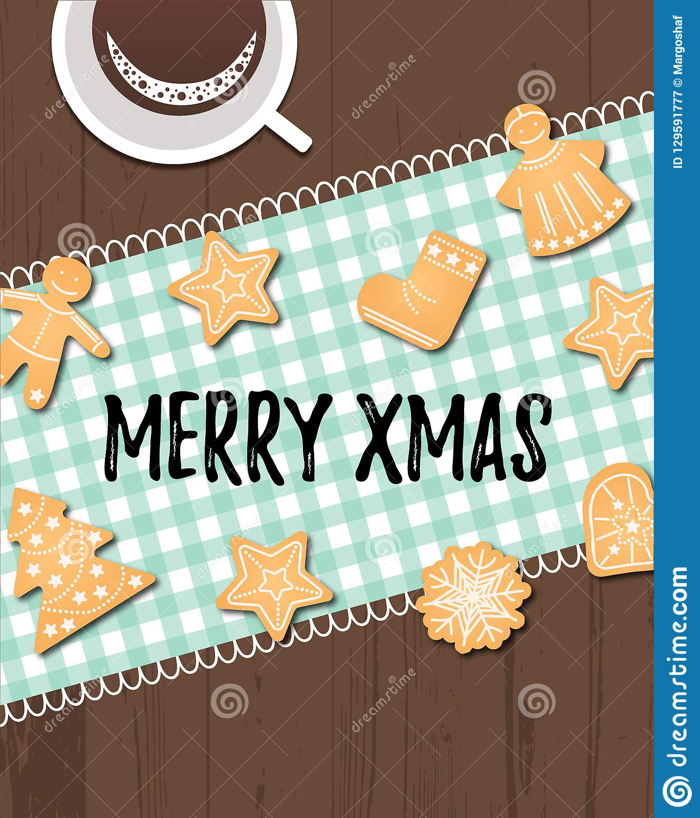 Merry Xmas text with winter holidays traditional cookies.