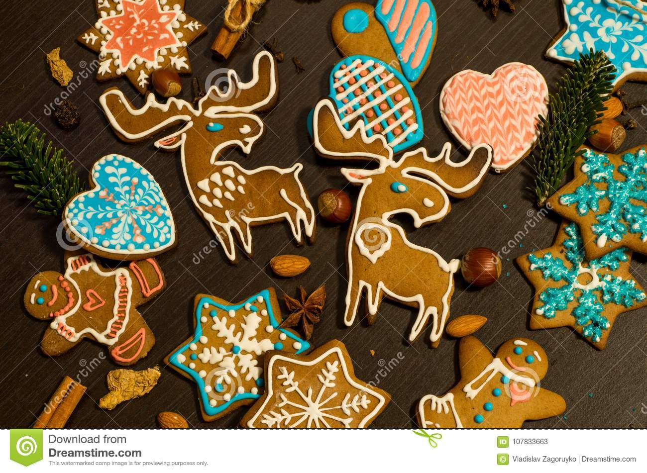 Ginger Biscuits In The Shape Of Moose Stock Image Image Of Merry