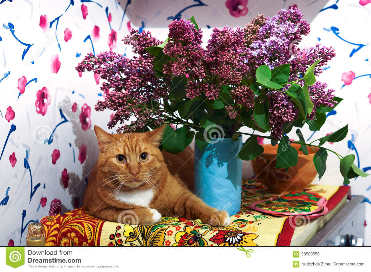 Ginger The Cat The House Is About A Vase Bouquet Flowers Lilac