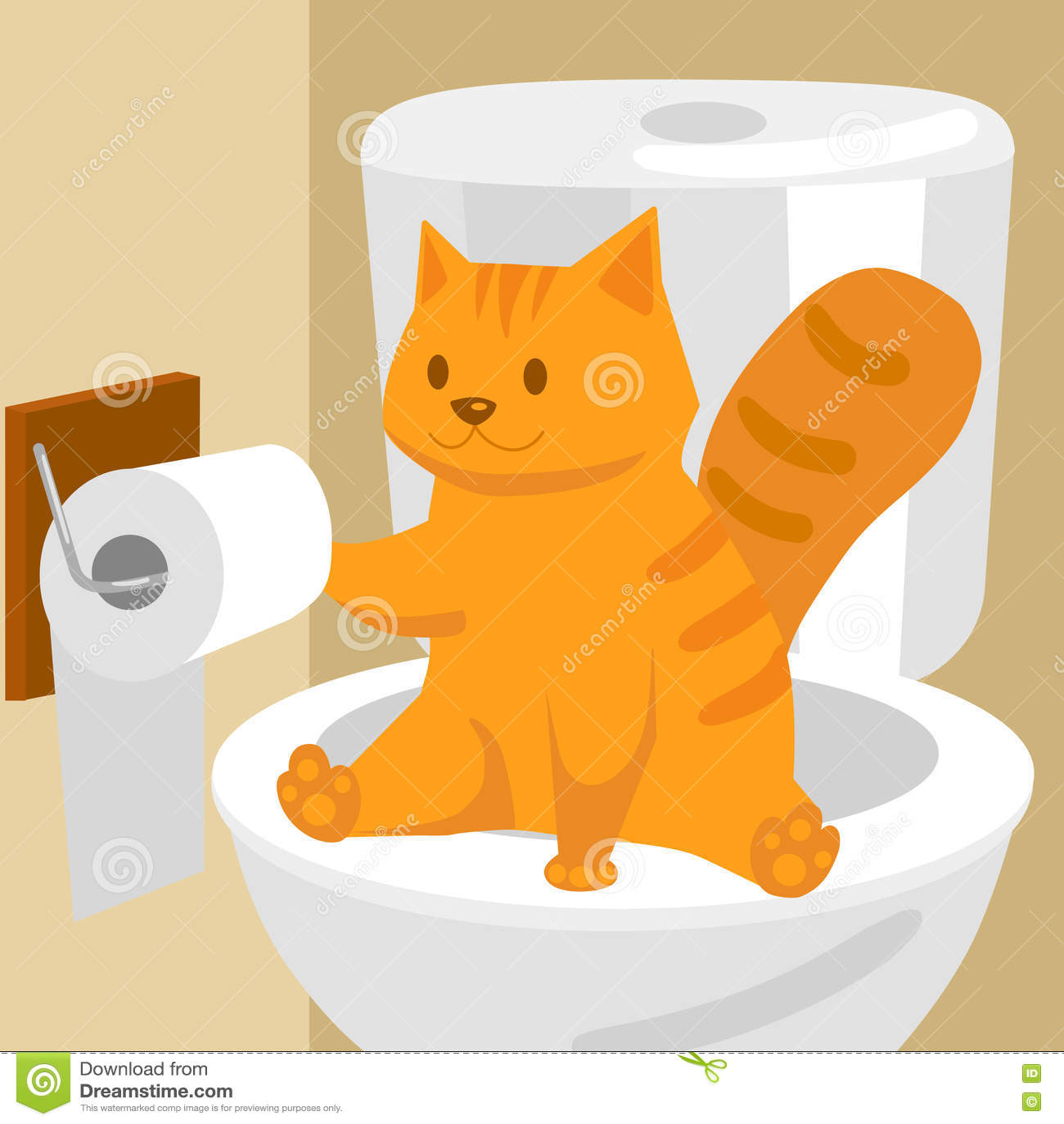 Ginger Cat On Toilet Cartoon Vector Illustration Stock
