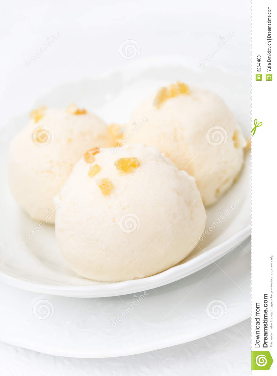 Ginger Ice Cream With Melted Milk, Close-up Stock Image - Image ...