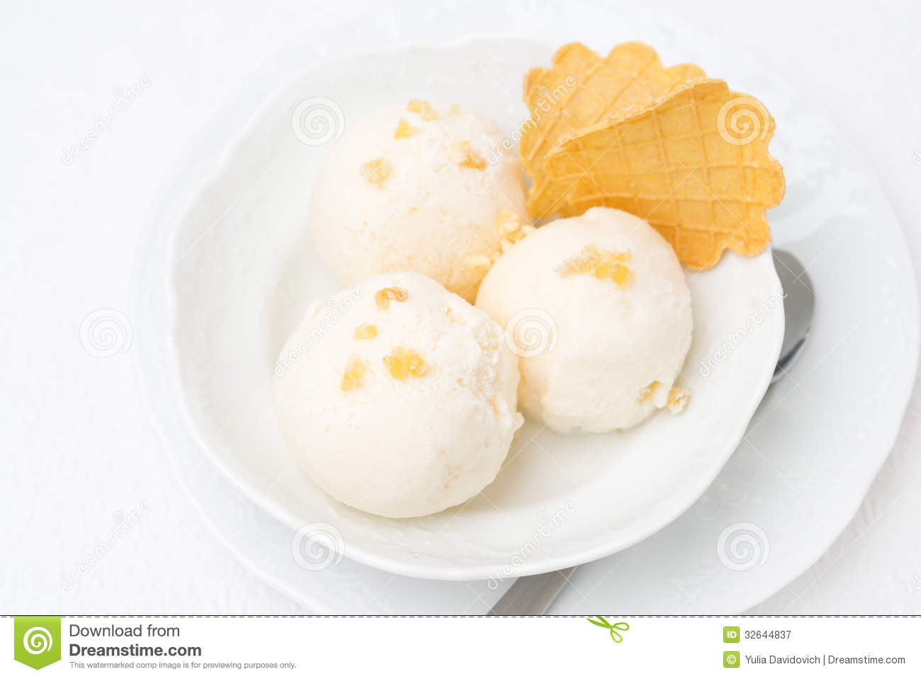 Ginger Ice Cream With Melted Milk And Thin Waffles, Top View Royalty ...