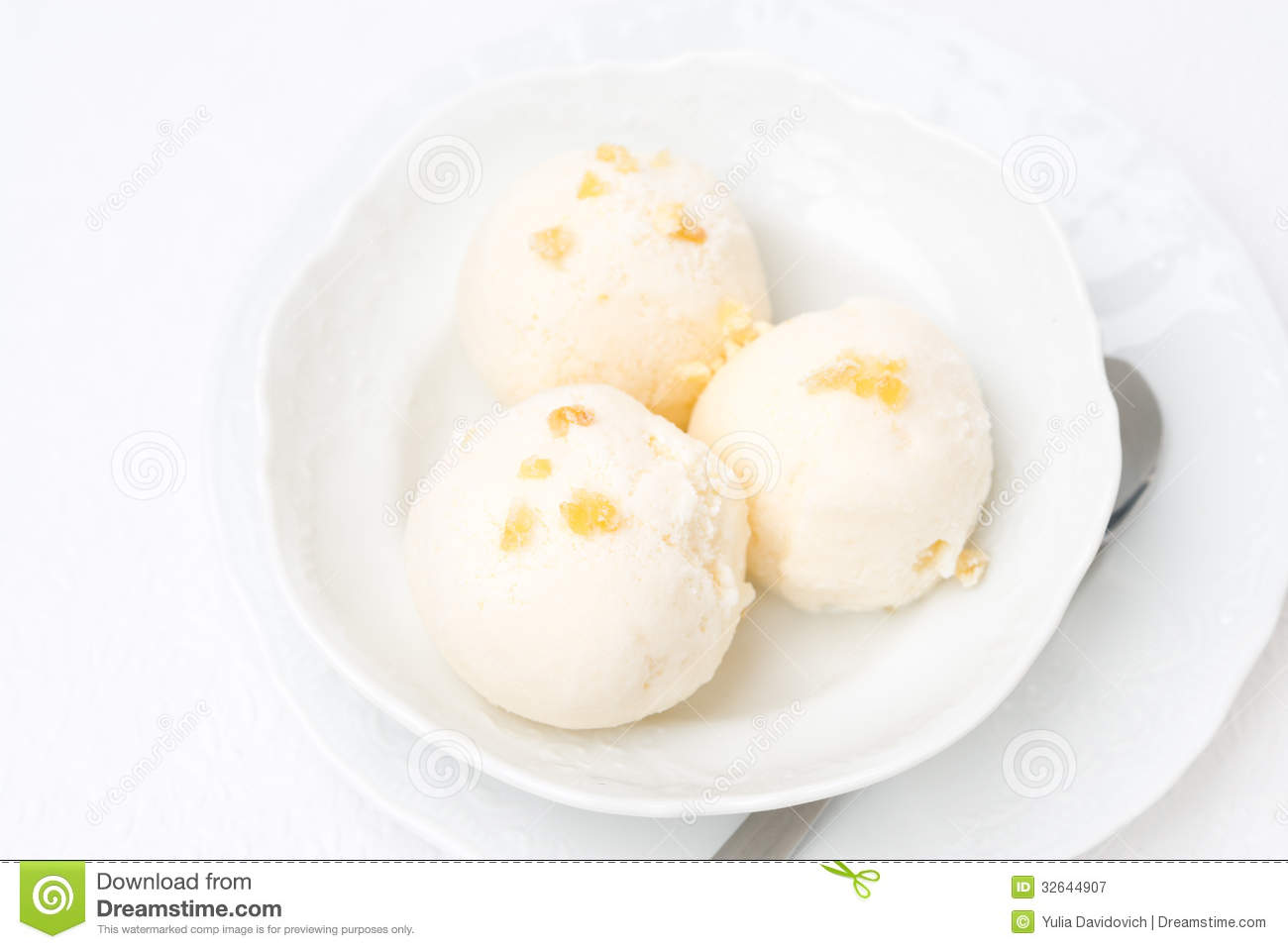 Ginger Ice Cream With Melted Milk, Top View Royalty Free ...