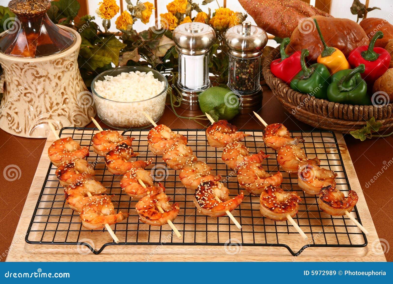 Ginger kebaby krewetki teriyaki