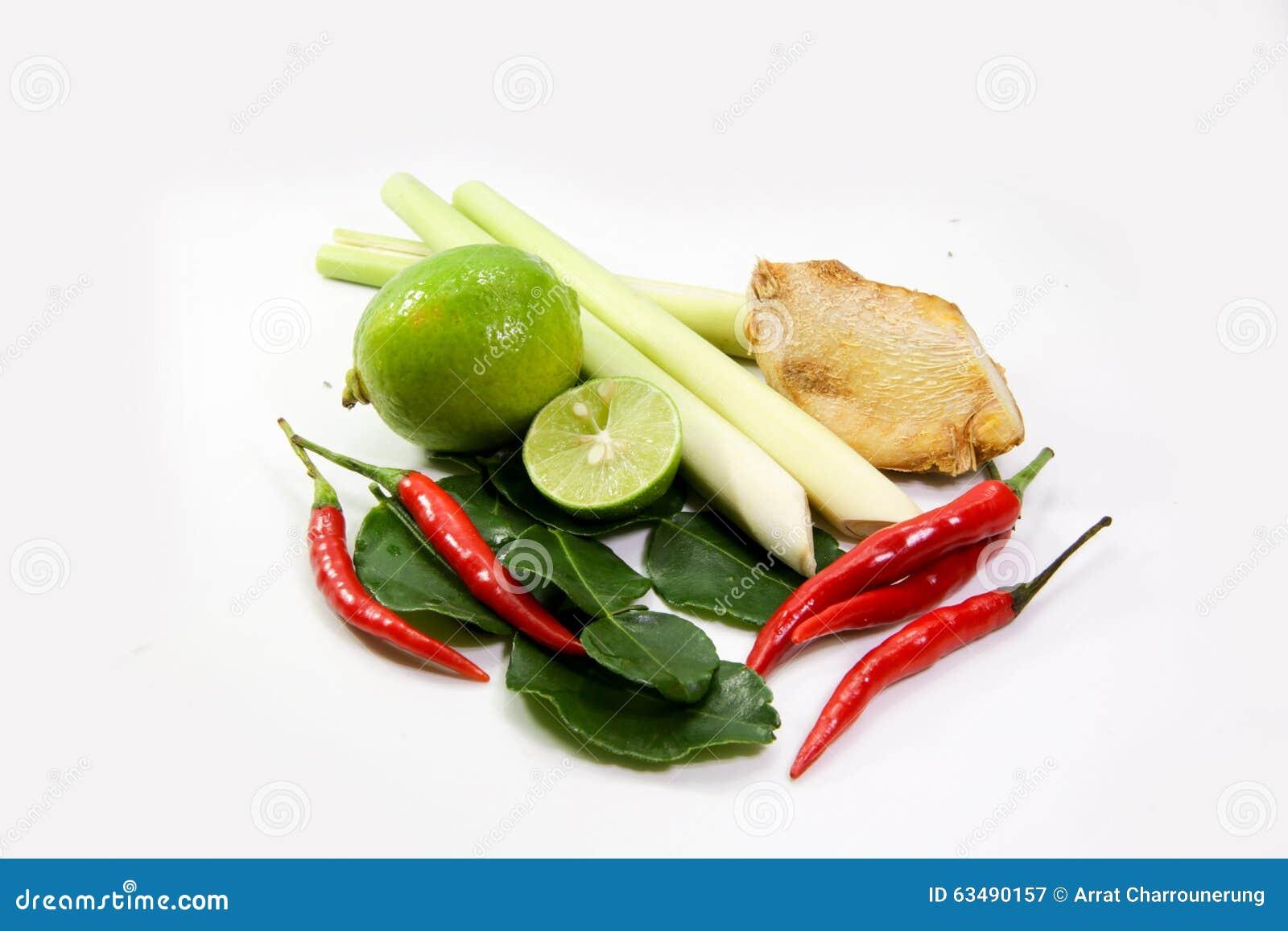 Ginger lemograss onion lime leaves chilli lemon for 7 spices asian cuisine