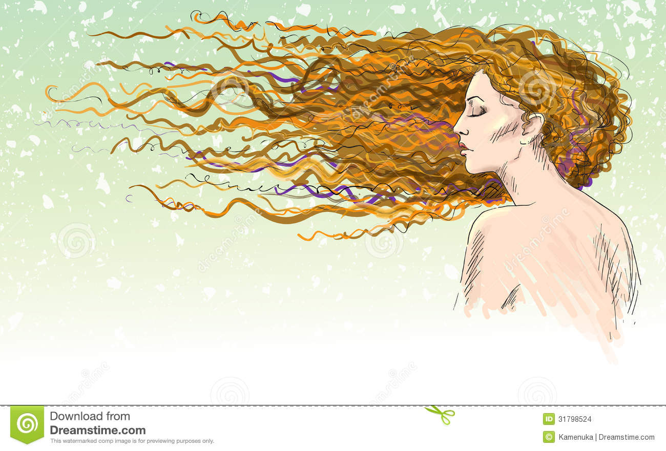 Ginger. Red-haired girl. Hair blown by the wind.