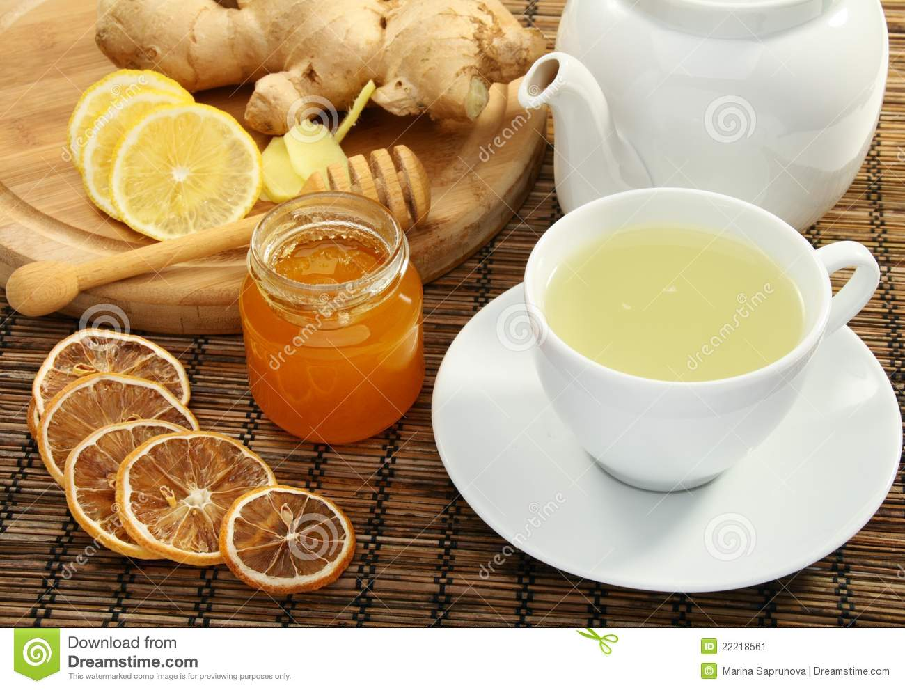 Ginger Tea With Honey And Lemon. Stock Image - Image: 22218561