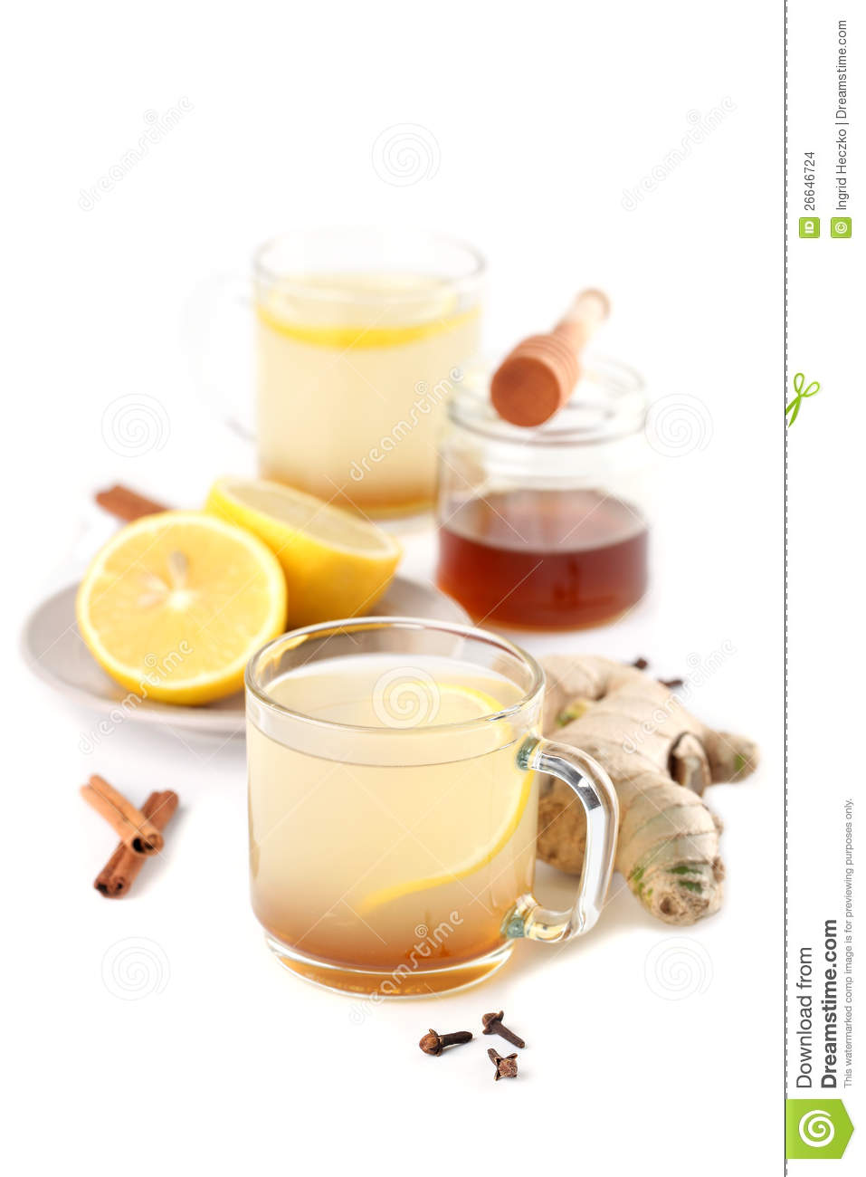 Ginger tea with honey, lemon, cinnamon and cloves isolated on white ...