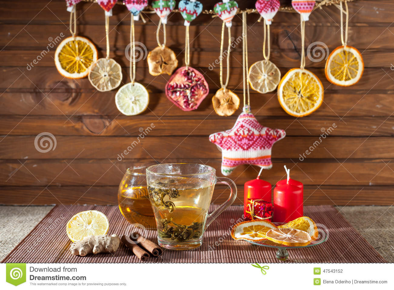 ginger tea with spices  honey  cinnamon  lemon and dried