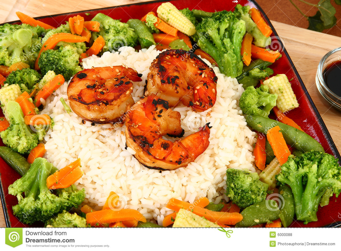 Ginger Teriyaki Shrimp With Rice And Veggies Royalty Free Stock Photos ...