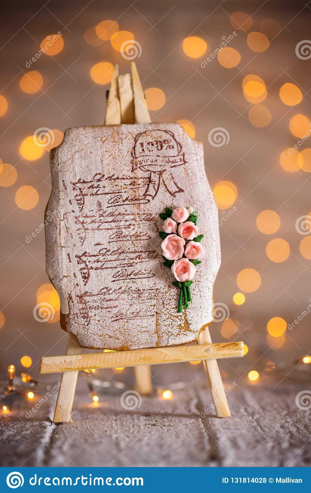 Gingerbread With A Bouquet Of Roses Stock Photo Image Of Gift