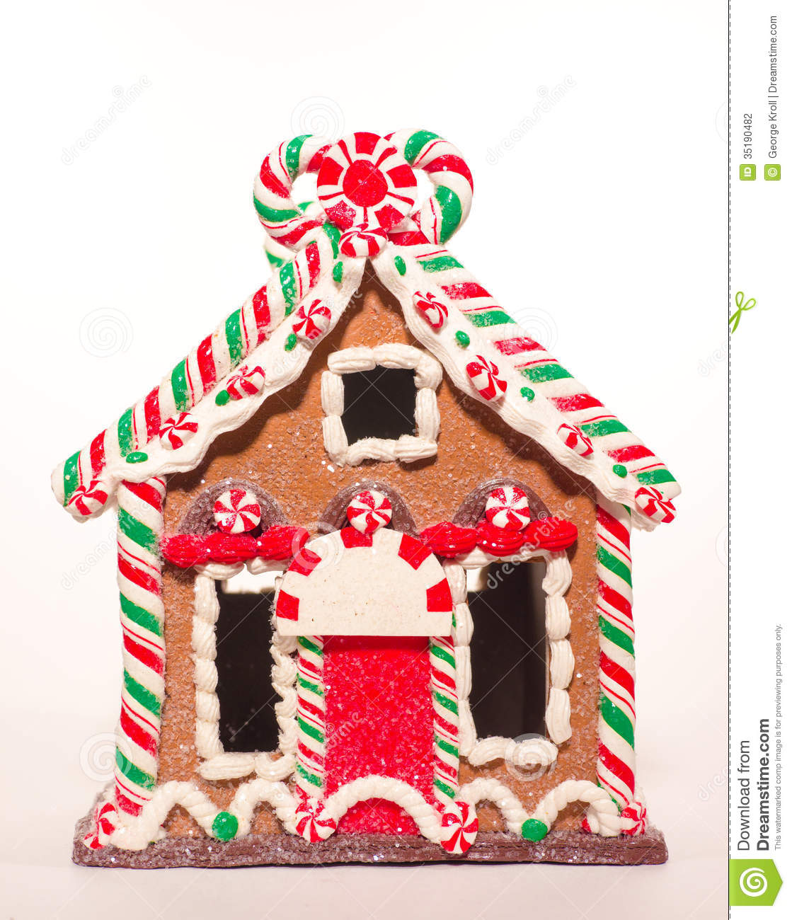 Gingerbread Candycane House Stock Photo Image Of Green
