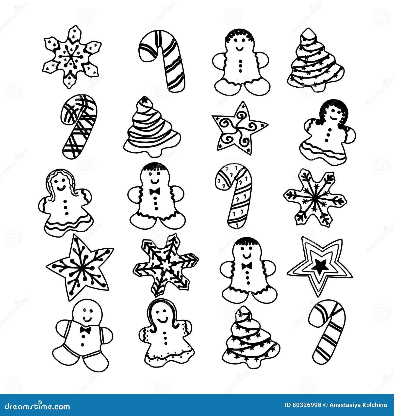 Gingerbread Christmas set Cookies, vector illustration