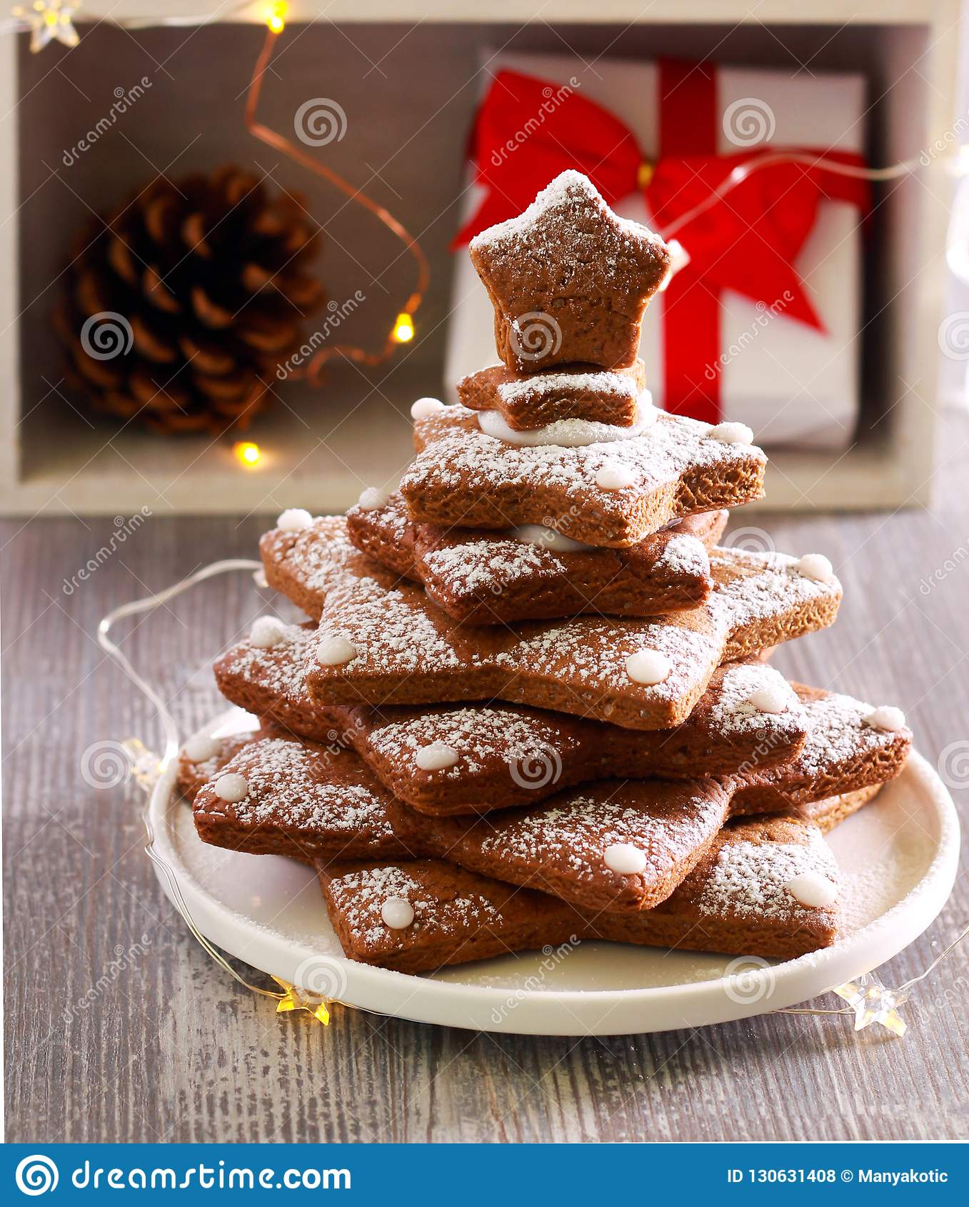 Gingerbread Christmas Tree Biscuits With Icing Stock Photo Image