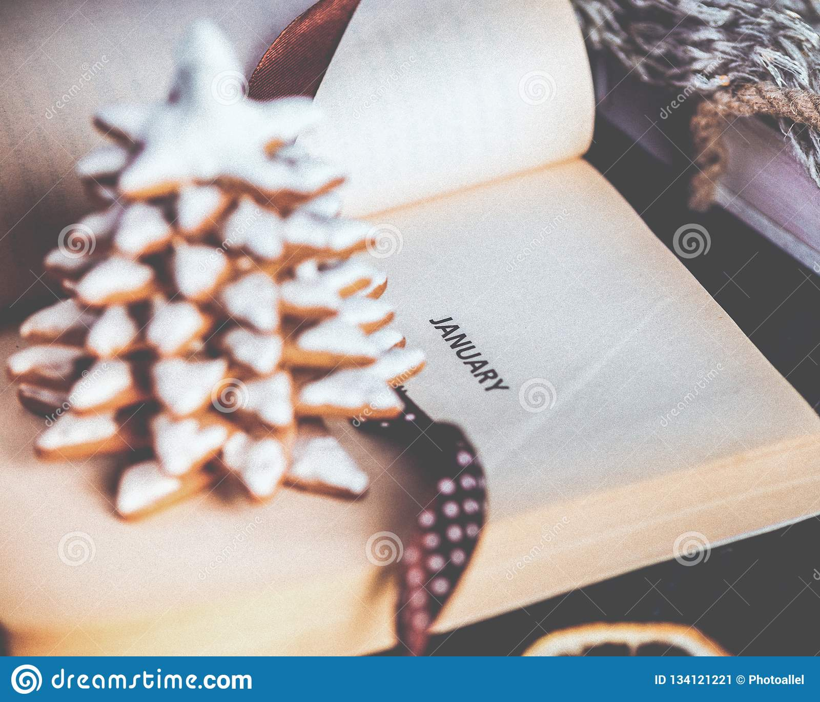 Gingerbread Christmas Tree Cookies Opened Book With The Inscription