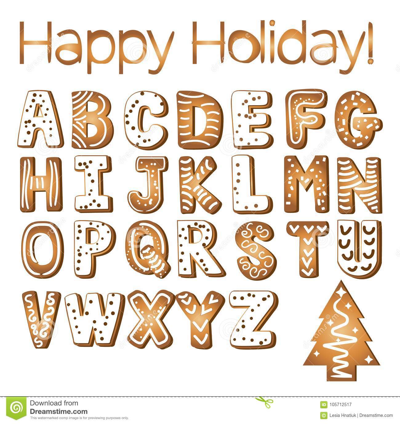 Gingerbread cookies alphabet holidays ginger cookie isolated font text food biscuit xmas letter vector illustration
