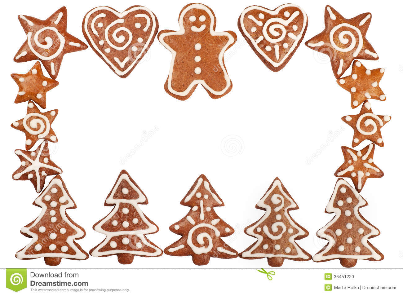 Homebaked Christmas Gingerbread Cookies Border Isolated On White