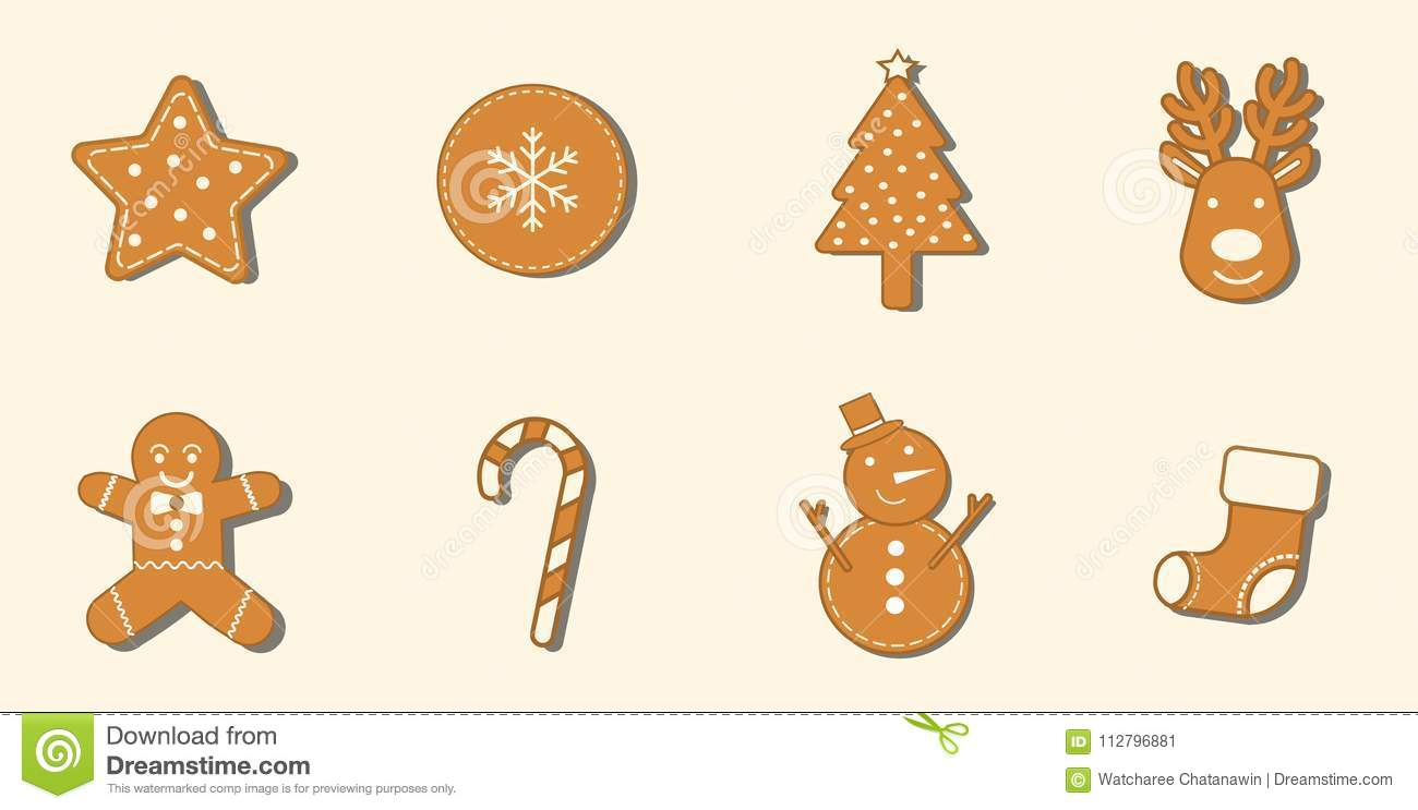 8 Gingerbread Cookies Christmas Icon Set. Stock Vector ...