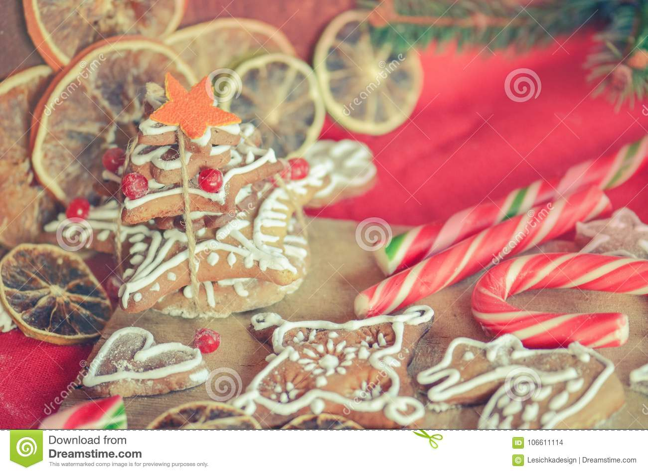 Gingerbread Cookies, Dried Oranges, Spices And Christmas Lights ...