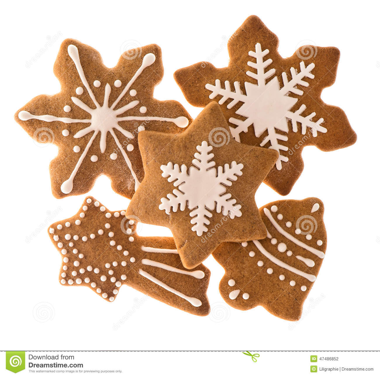 Cookies isolated on white background traditional christmas food