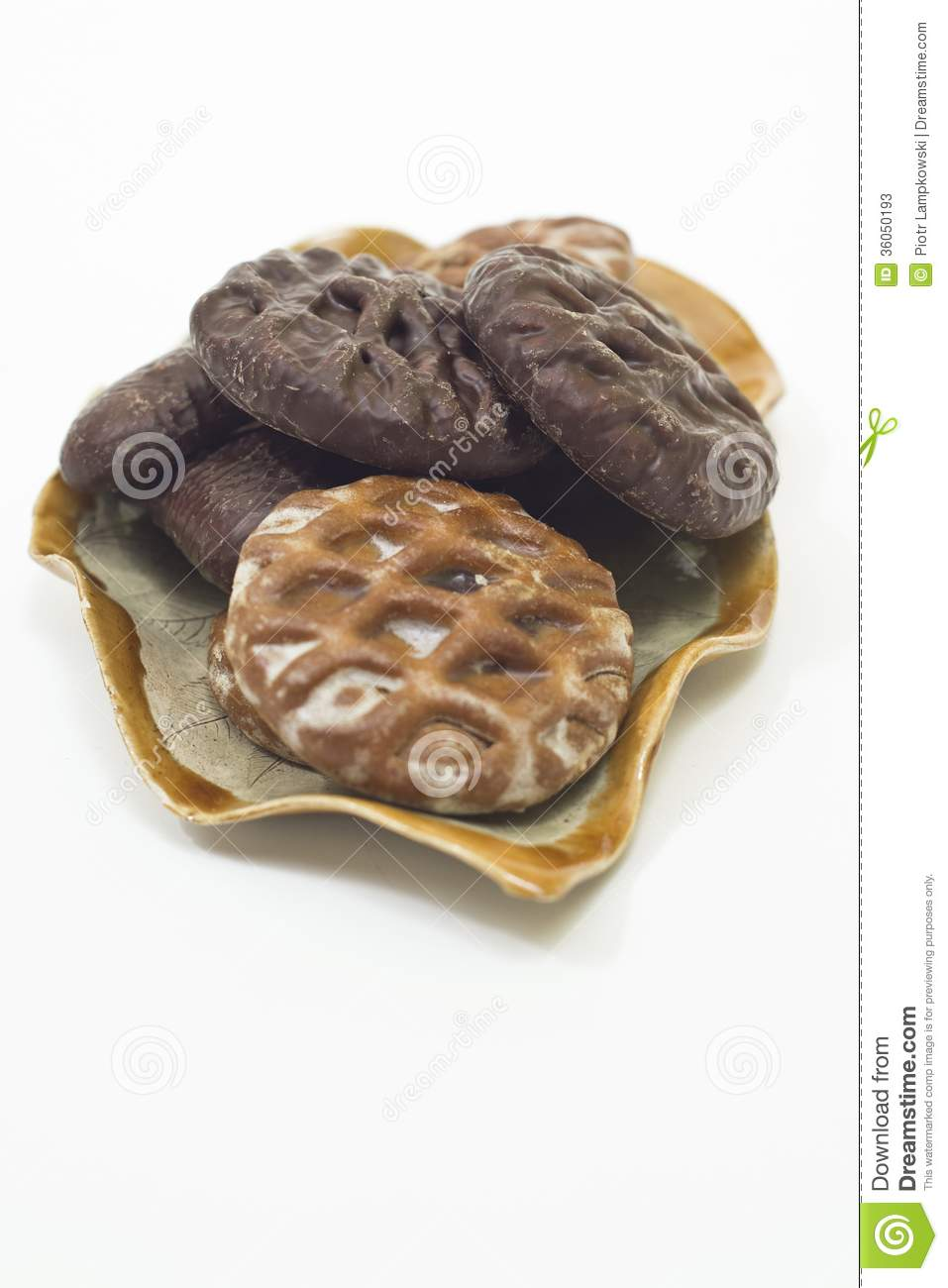 Gingerbread Cookies On Shaped Like A Leaf Plate Stock Image Image
