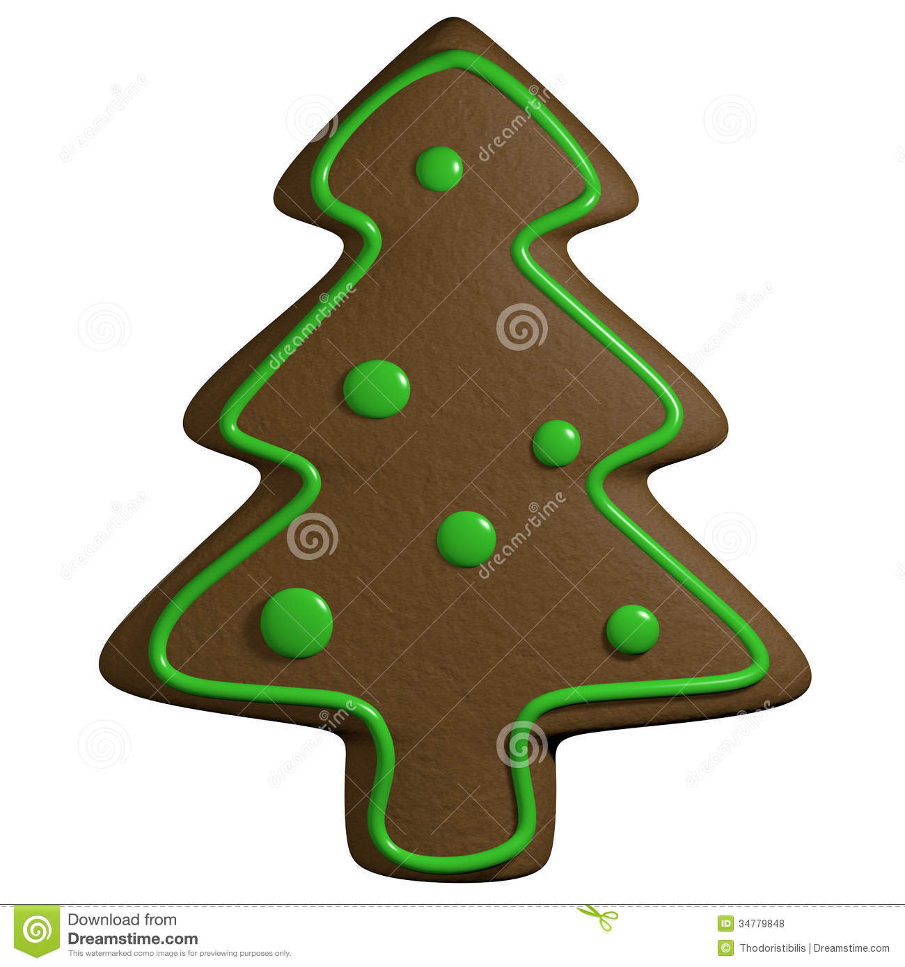 Gingerbread d cartoon christmas pine tree with ornaments