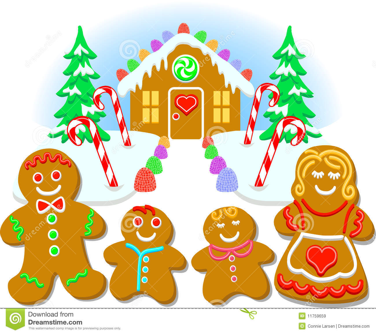 ... illustration of a gingerbread cookie family and their candy house