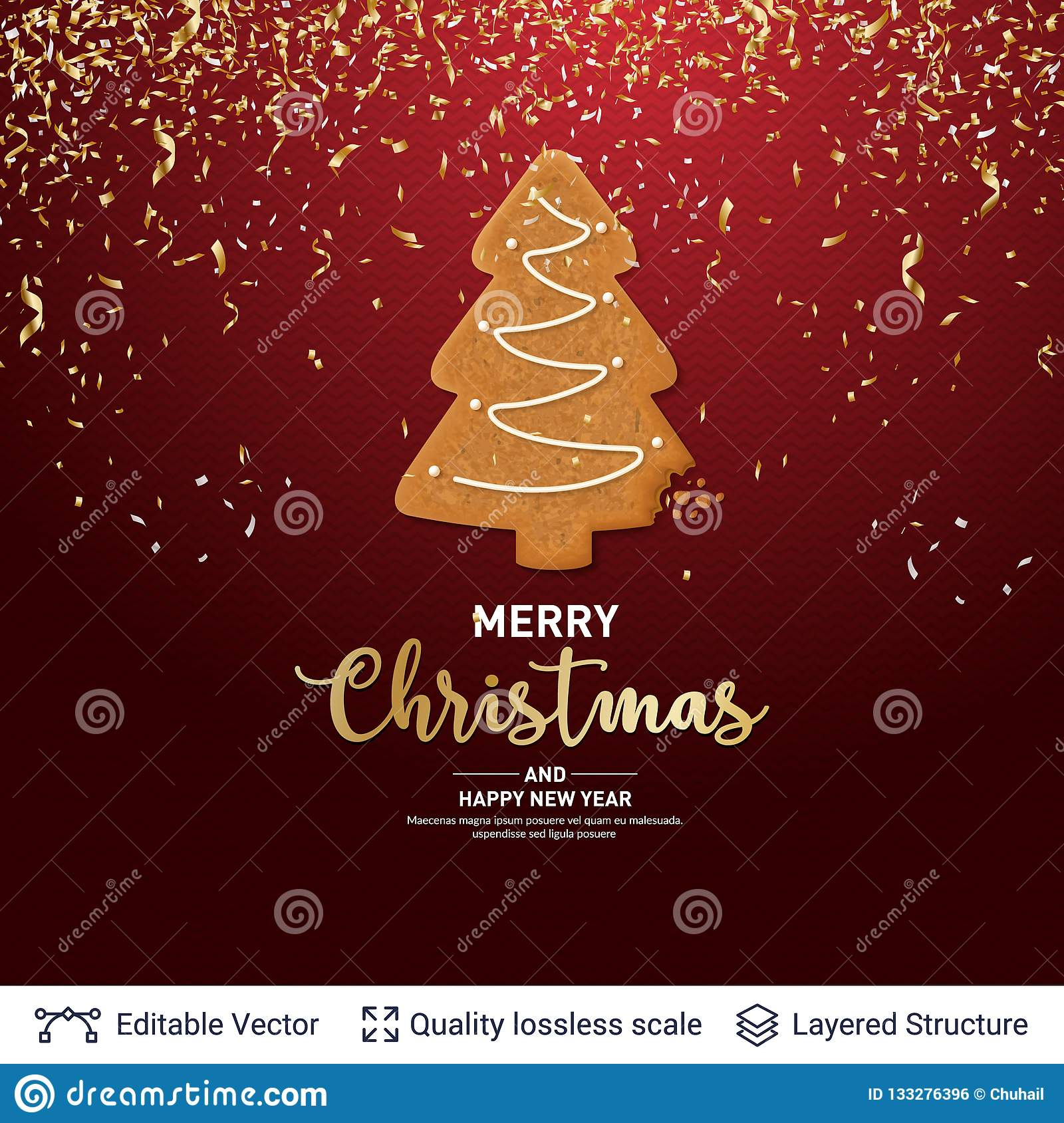 Gingerbread Fir Tree Cookie On Red Banner Stock Vector