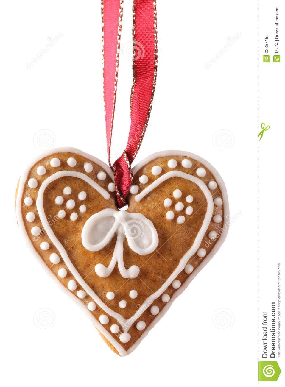 Gingerbread heart stock photo image of ribbon cookie