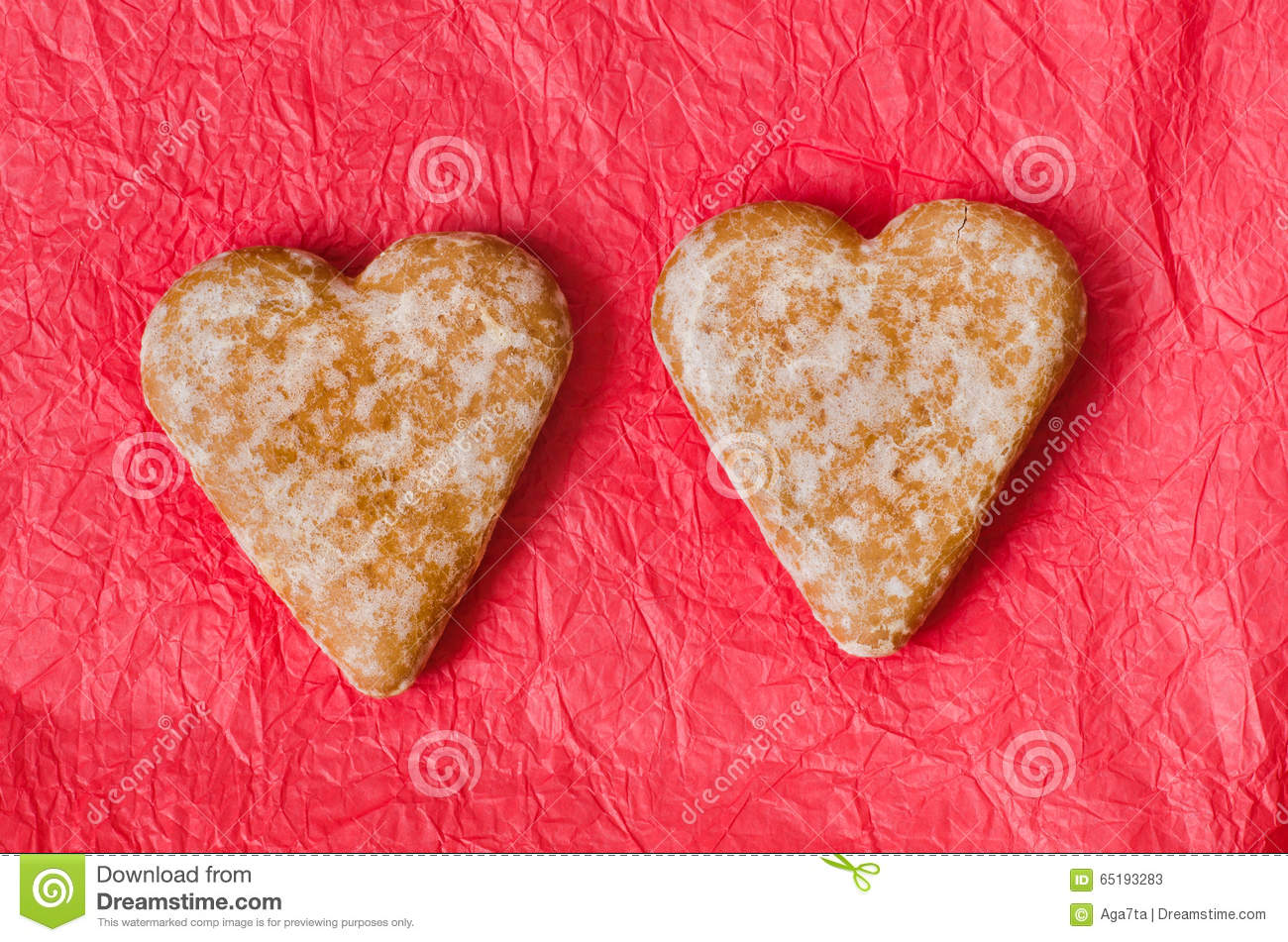 Gingerbread Heart Cookies On Red Background Stock Image Image Of