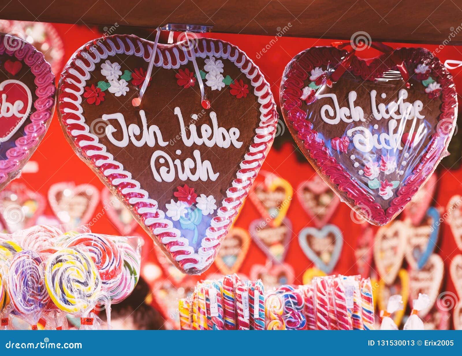 Gingerbread Hearts Cookies In Christmas Market At Gendarmenmarkt In