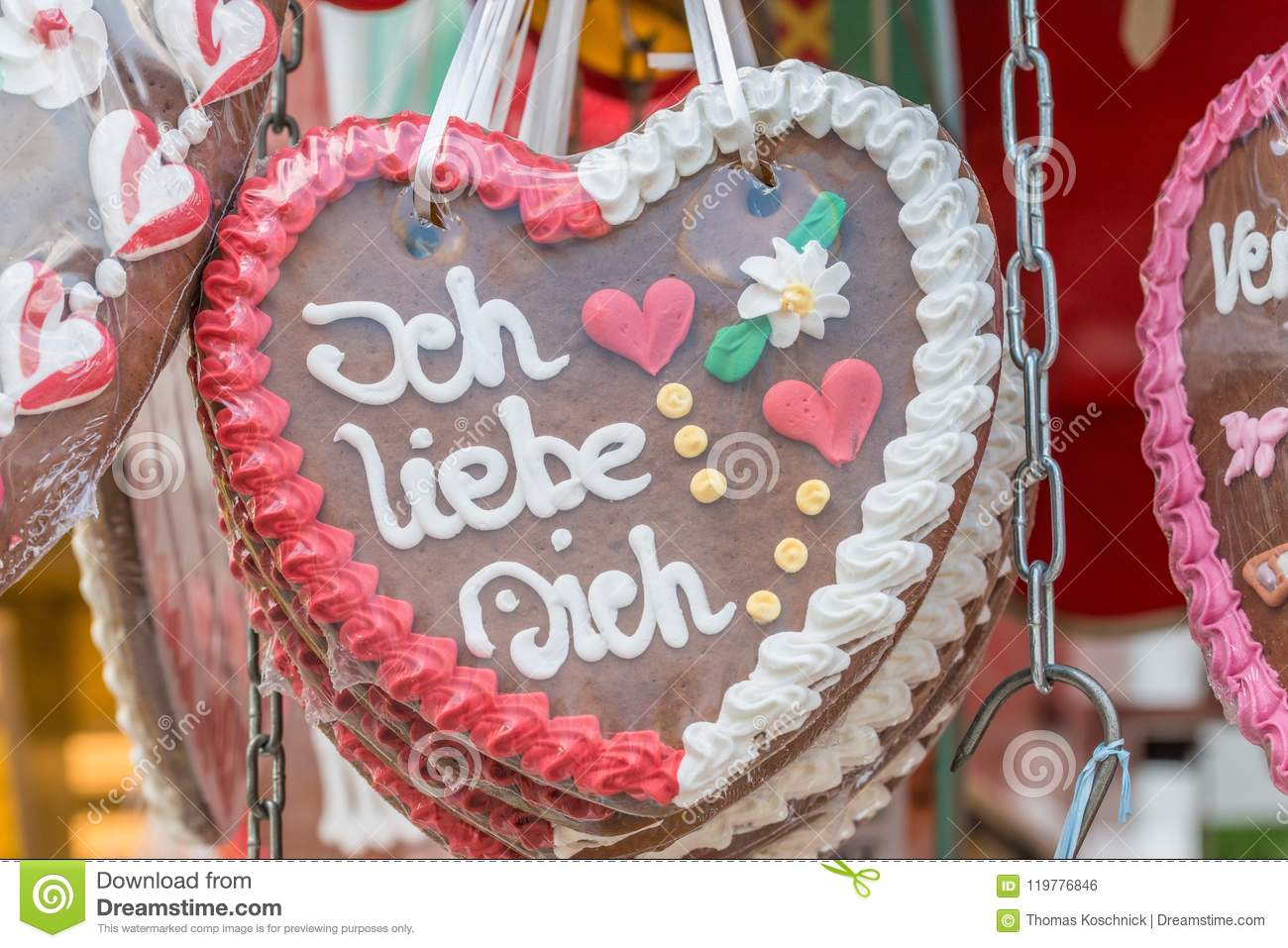 Gingerbread Hearts At A Folk Festival With German Words I Love You