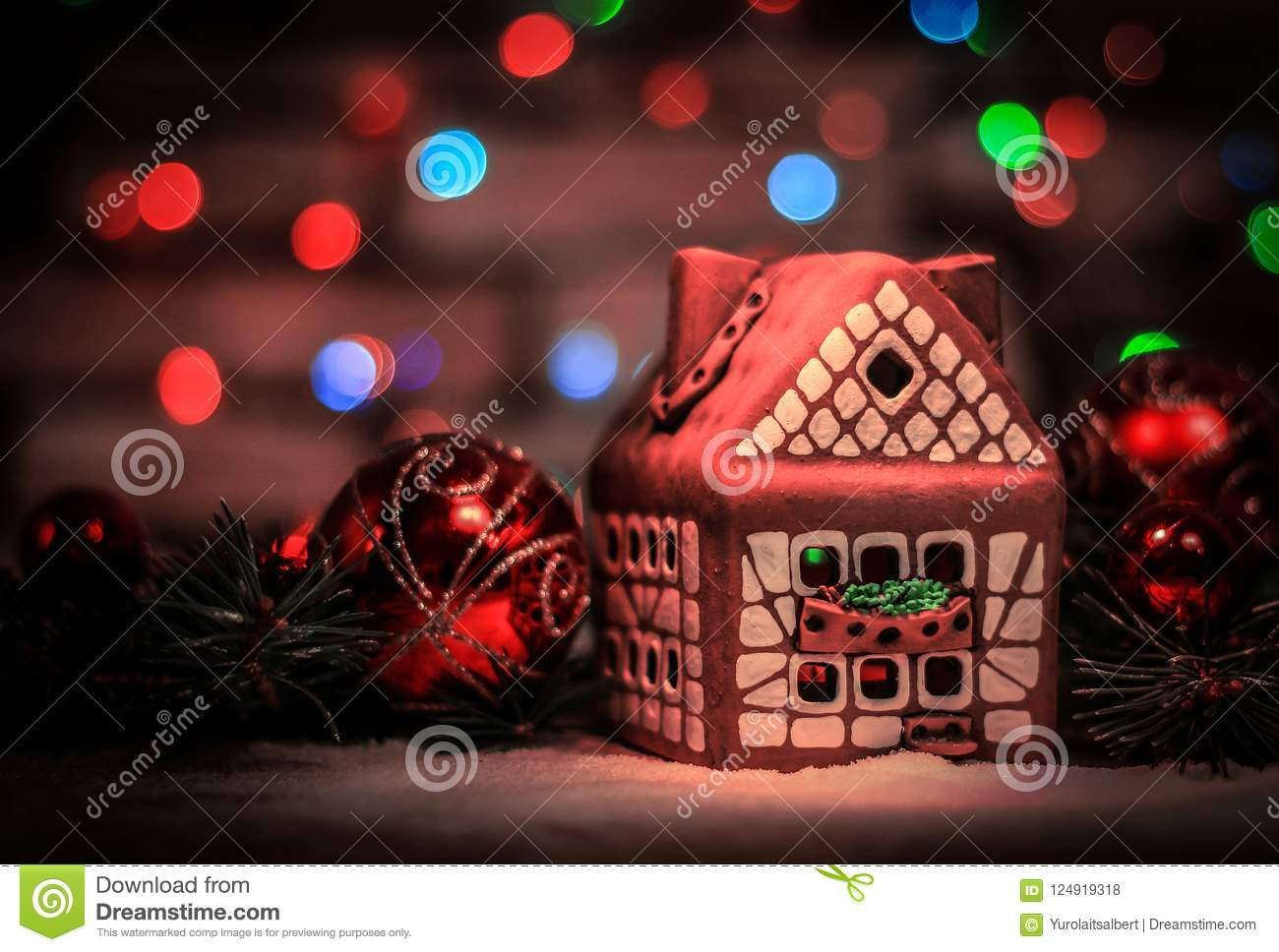 download gingerbread house and christmas decorations on festive backgrou stock photo image of ginger