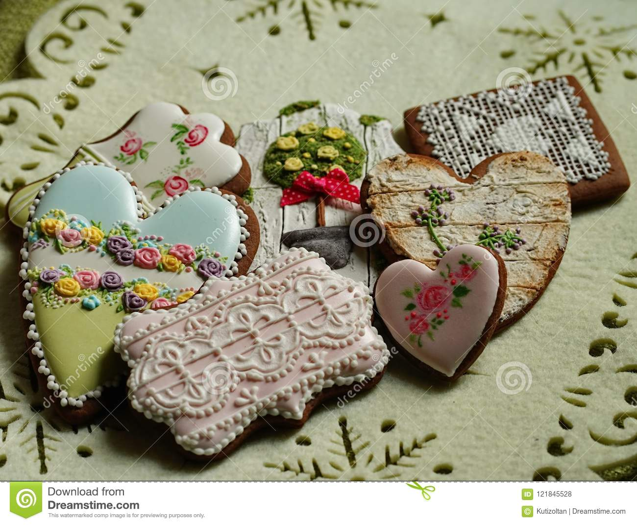 Gingerbread House Cookies On Christmas Tablecloth Stock Photo