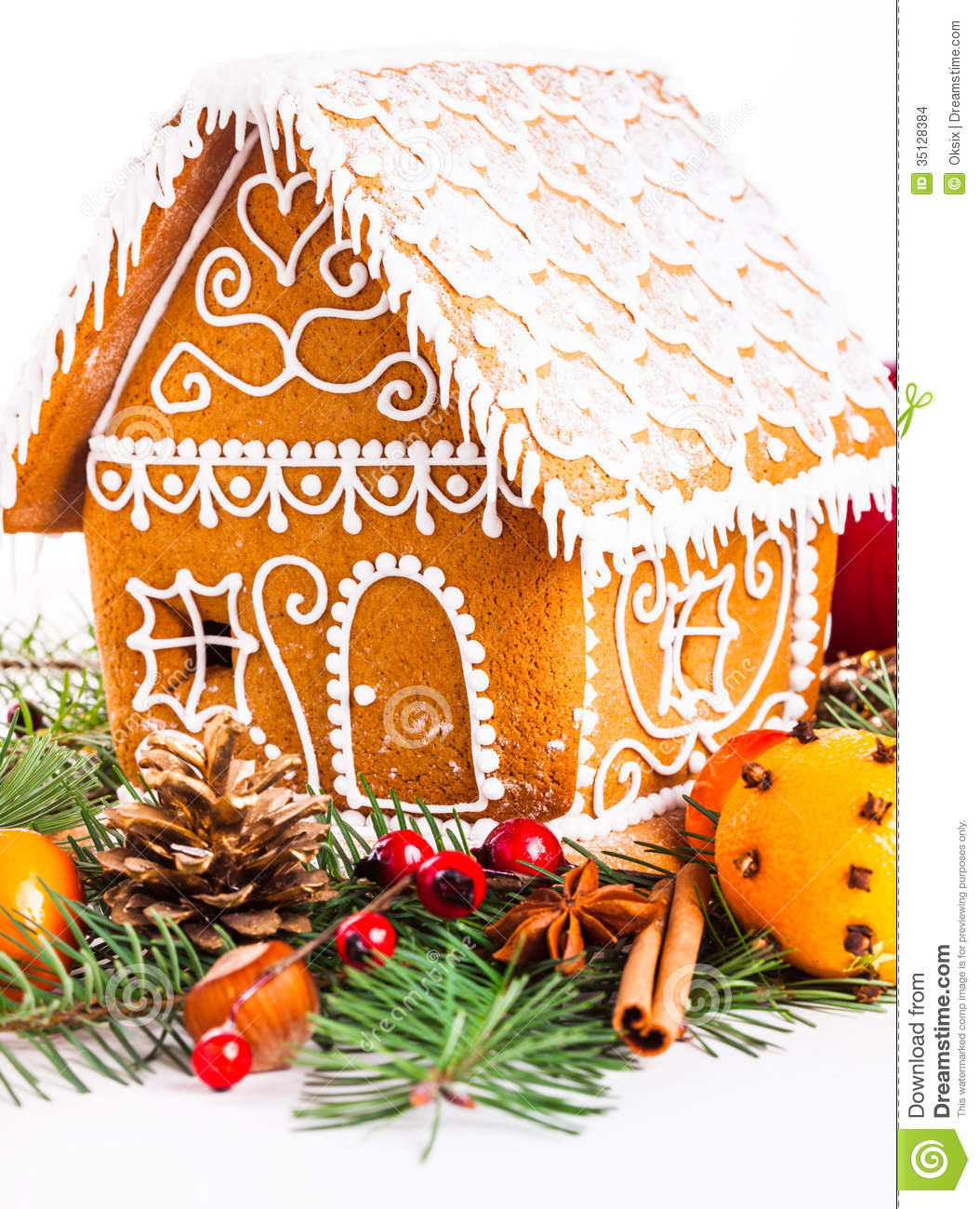 Gingerbread House And Decor Stock Images Image 35128384