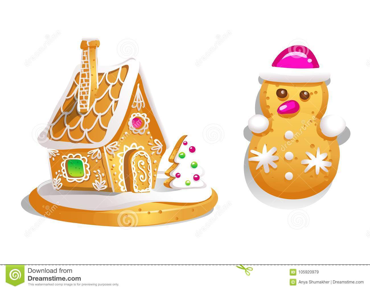 Gingerbread House Decorated Candy Icing And Snowman . Christmas ...