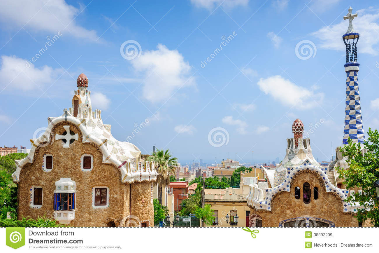 Gingerbread House of Gaudi in Park Guell Barcelona