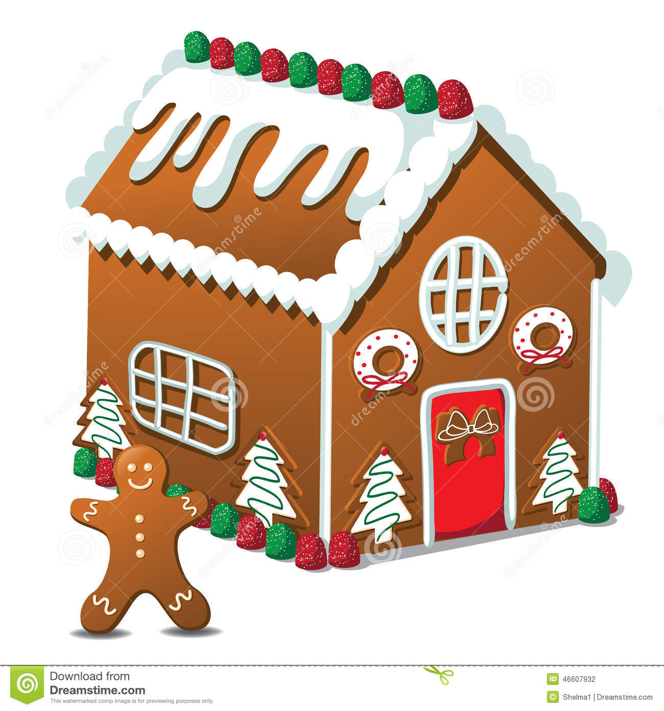 Gingerbread House And Gingerbread Man Stock Vector - Image: 46607932
