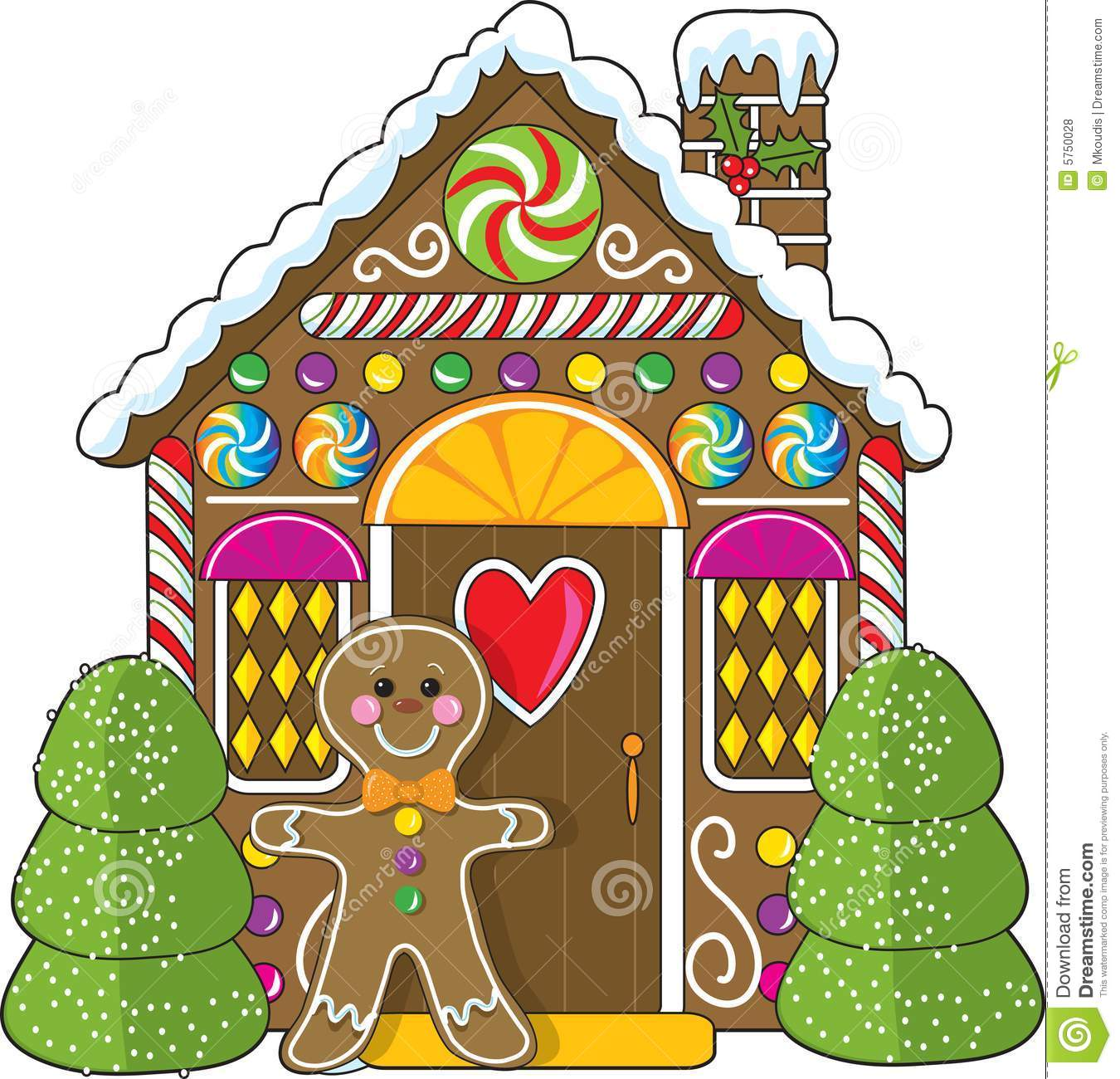 cute little decorated gingerbread house with a gingerbread man ...