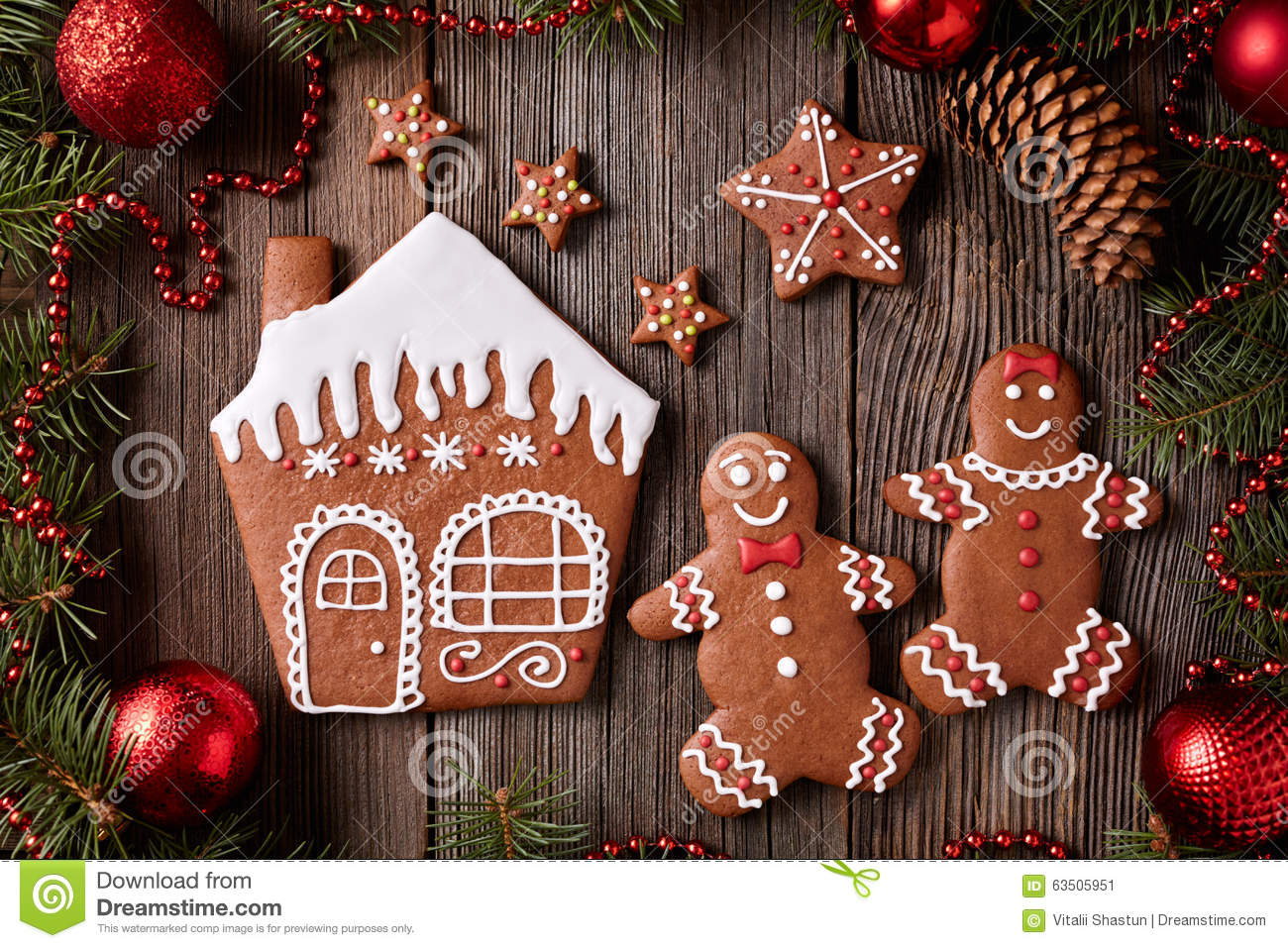 Gingerbread house, man and woman, stars christmas