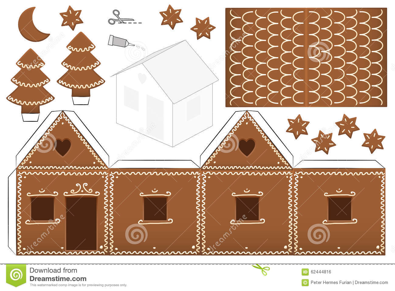 Gingerbread house paper model with trees, moon and stars - print it on ...