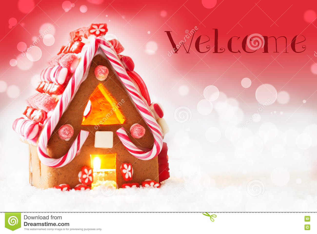 Gingerbread House, Red Background, Text Welcome