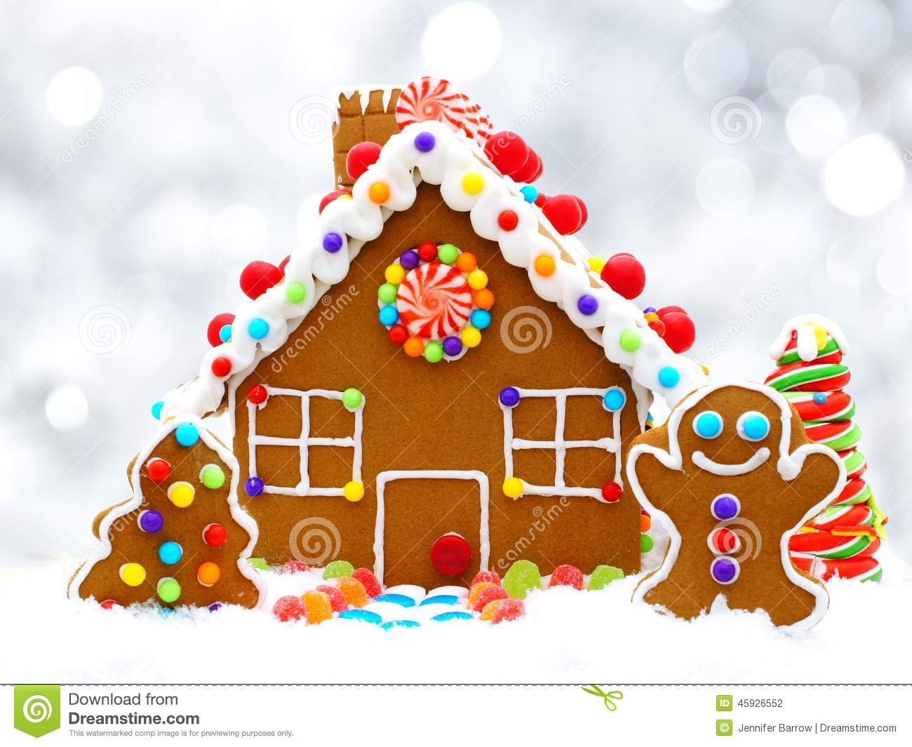 Gingerbread House With Silver Background Stock Photo - Image: 45926552