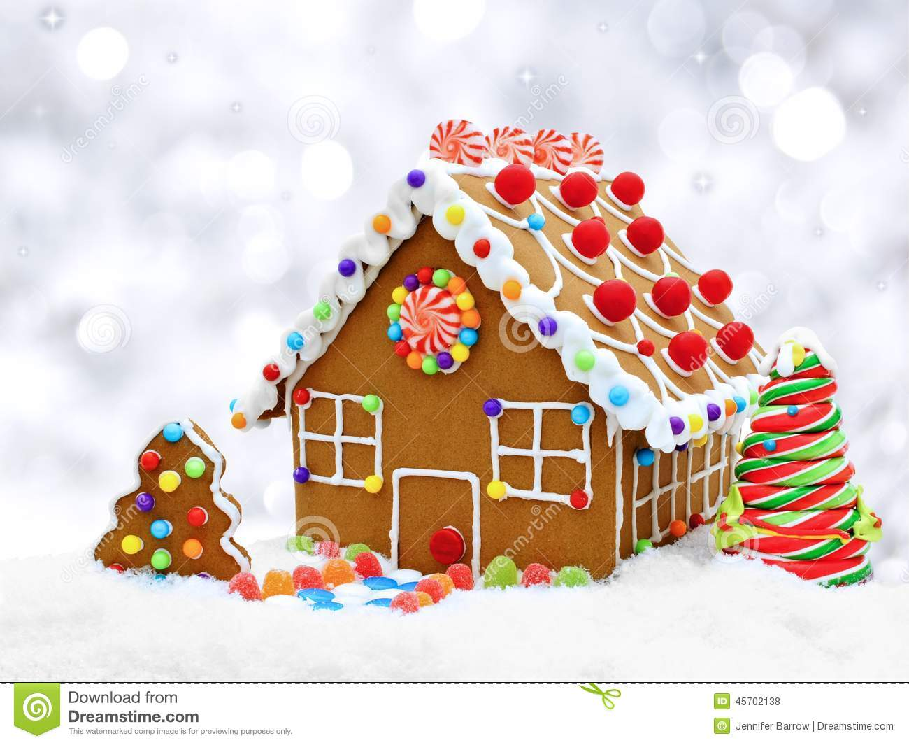 Gingerbread House With Silver Background Stock Photo