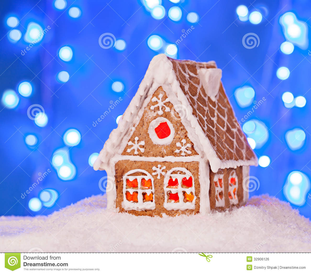 Gingerbread House In The Snow With A Beautiful New Year S