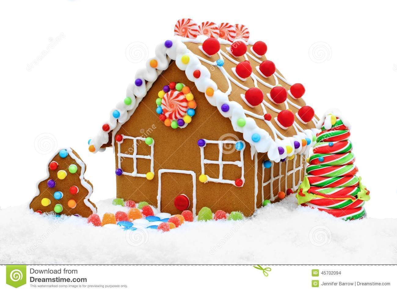 Gingerbread house in snow stock photo image of frosted for Colorful tree house