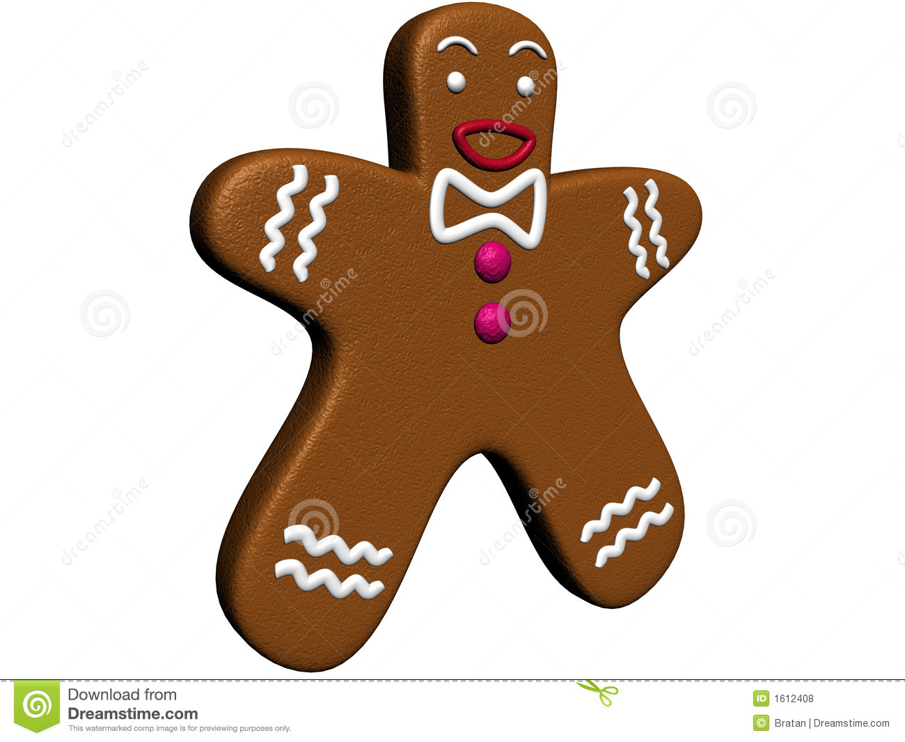 gingerbread man illustration with white background auto
