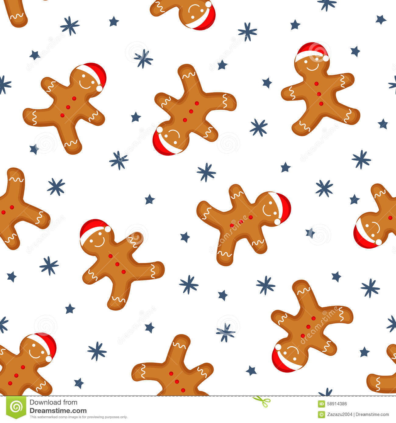 Gingerbread man is decorated in xmas hat seamless background texture